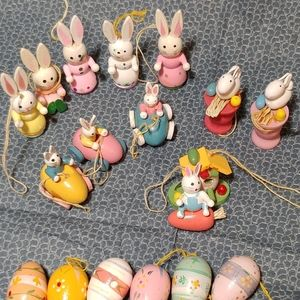 Miniature Hand Painted Wooden Easter Ornaments